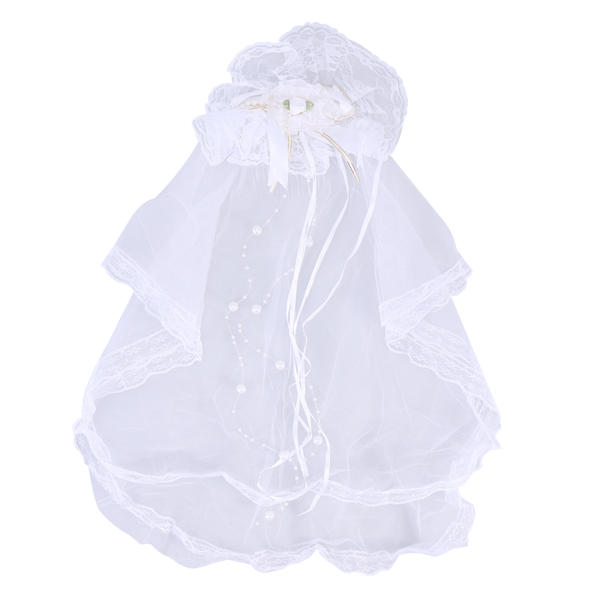 Girls Children Lace Bowknot Wedding Veil Head Hair Decoration Wedding Yarn Communion Off-White Floral Veil (White)
