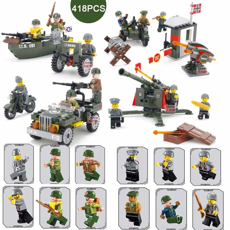 WW2 Classic Military Exercises Base Scenes Mobile Flak Cannon Model Building Blocks British US Army Soldier Brick For Kids Gift bryan perrett british military history for dummies