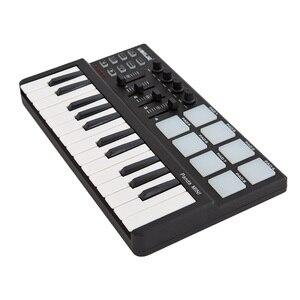 Горячая продажа Портативный мини 25-ключ USB клавиатура и барабанные колодки MIDI Контроллер много типов миди клавиатуры коврики контроллер кл...