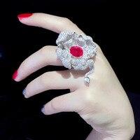 Большой цветок лотоса кольцо стерлингового серебра 925 коктейльное кольцо Изысканные Женщины Ювелирные изделия Бесплатная доставка Вечерн