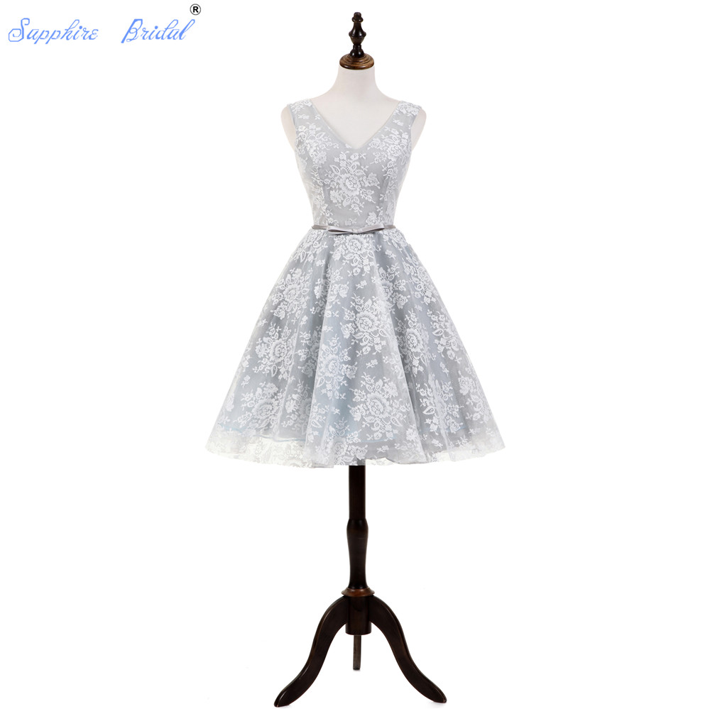 Sapphire Bridal 2019 New Mini   Cocktail     Dress   Silver Vintage Lace Backless Formal   Dresses   Vestido De Festa Abito Da Sera   Cocktail