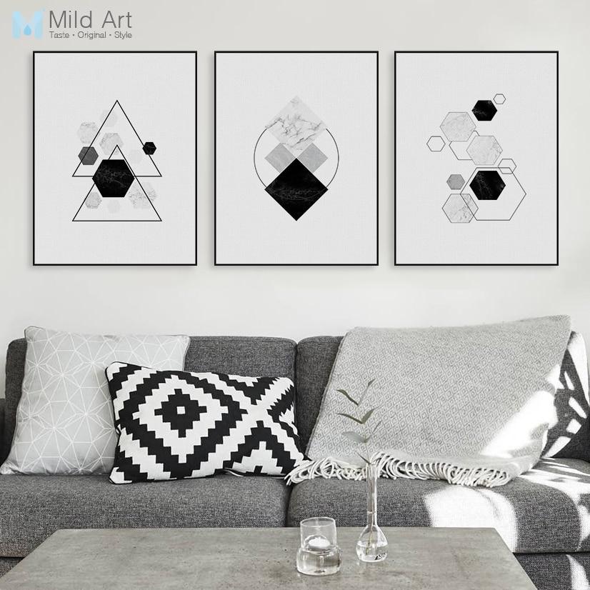 5fce08b90546c أسود أبيض الحديثة الأصلي تجريدي هندسي الشكل فن الطباعة قماش a4 المشارك  الشمالي جدار الصورة ديكور المنزل اللوحة بدون إطار