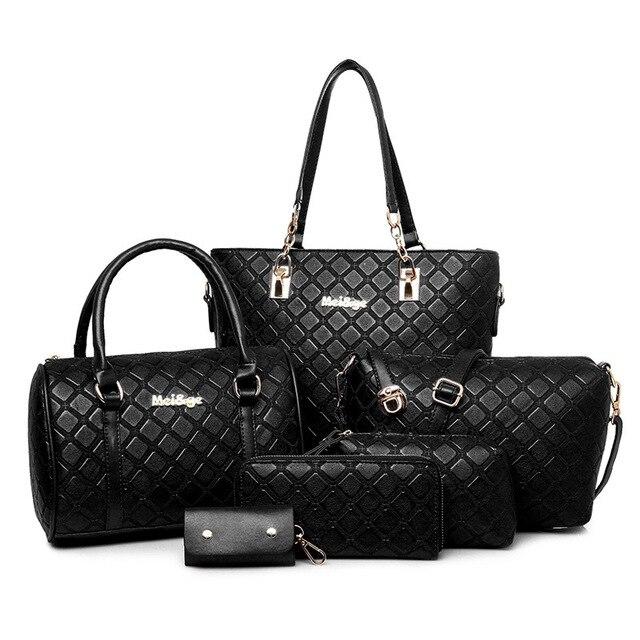 Европейской и Американской моды плед женщин повседневная сумка PU кожаные женские сумки цепи сумки все-матч 6 шт./набор