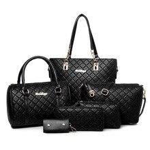 Europäische und Amerikanische mode plaid frauen casual einkaufstasche PU leder damen umhängetaschen kette allgleiches handtaschen 6 stücke/set