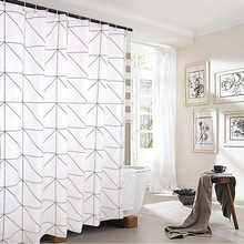 Fashion White Grid Skriv ut Blinds Gardiner For Bad Variety Størrelse Polyester Bath Curtain Vanntett Dusj Gardiner Hjemmeinnredning