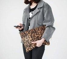 2014 klassische leopardenmuster frauen rosshaar messenger bag weibliche tag clutch bag kleine umhängetasche