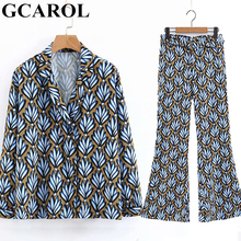 GCAROL 2019 Prairie Chic Tropical Floral Women'sets 2 Pcs Blouse Ankle Length Pants