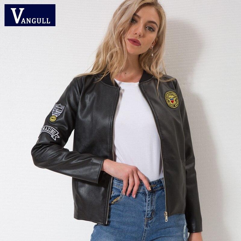 Vangull En Cuir veste Nouvelles femmes Automne Hiver Faux Cuir Vestes Lady Marque conception Moto Style noir Tranchée Femelle Manteau