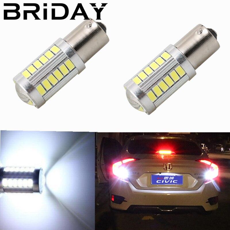BRIDAY 2pcs 1156 BAU15S P21W PY21W 33 SMD 5630 Backup CAR LED Parking Lamp Turn Signal Light 12V car styling white yellow