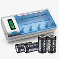 Display lcd cargador de batería para aa/aaa/sc/c/d/9 v batería + 4 unids nimh 8000 mah batería recargable d