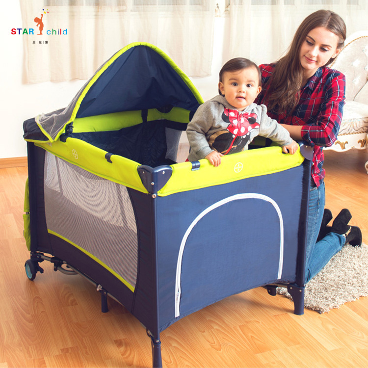 New Folding Crib Multifunctional Game Bed Portable Bunk Bed Baby Play Bed