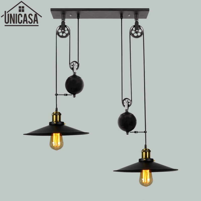 Bar Lamp Decoration: Vintage Wrought Iron Pendant Lights Pulley Bar Lamps For