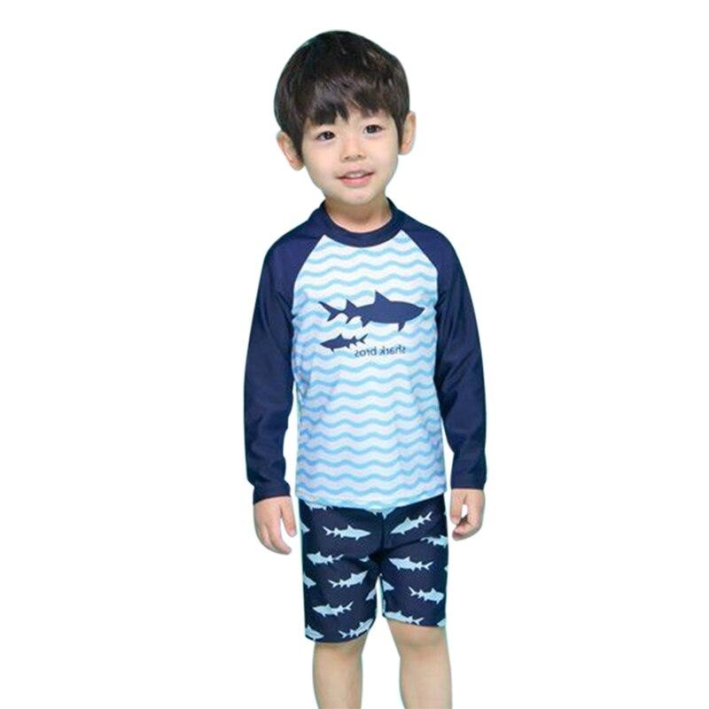 Sky Blue Boys Colorful Shark Beach Sunscreen Surfing Suit