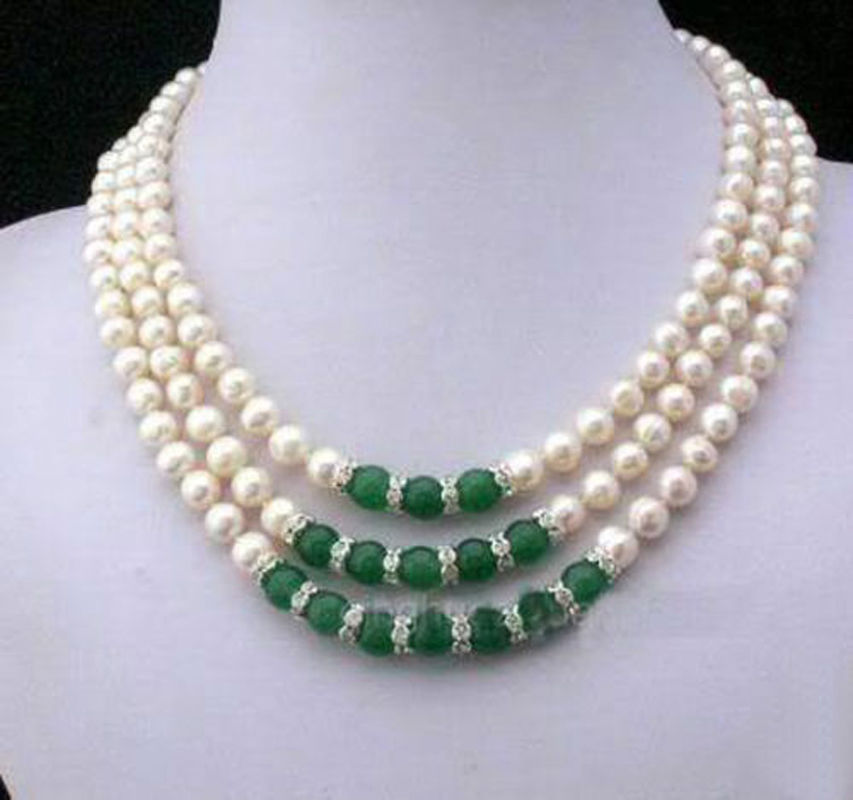 3Rows 7 8MM Real White Akoya Cultured Pearl & Green Jadeite Pendants necklace>>> women jewerly Free shipping