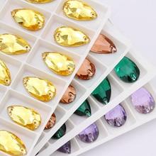 11x18mm Flat back rhinestones Crystal decoration Drop High Quality Sew On Stones Flatback Strass Crystal Glass Rhinestone Sewing f pilkington alas fair face
