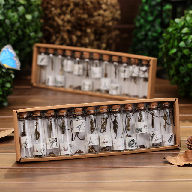 12pc/box Vintage Home Decor Gift MINI Glass Wish Bottle Lucky Pendant Retro  Hanging Bois