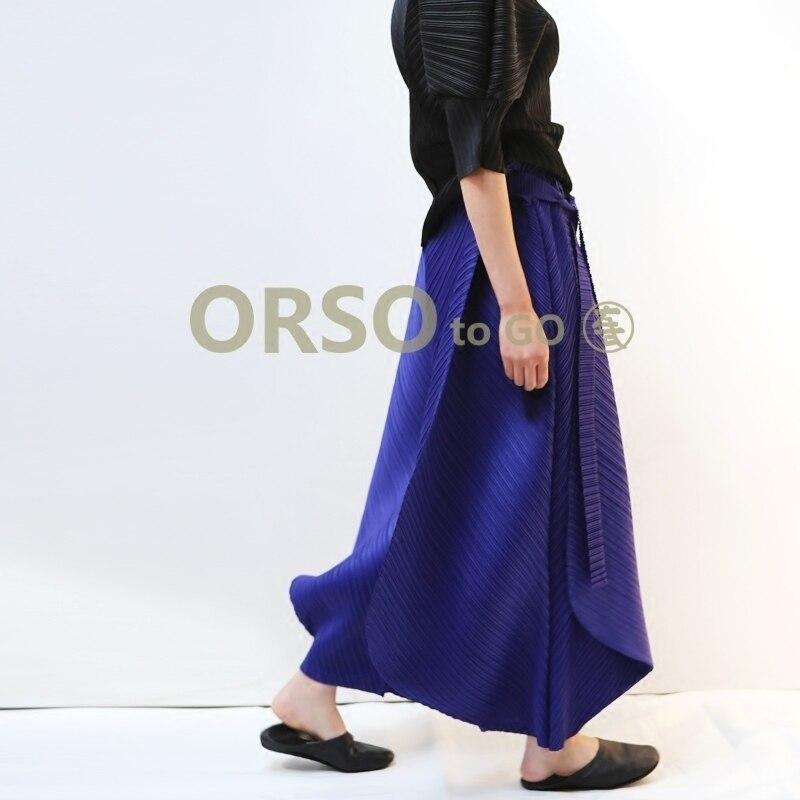 Issey Miyake printemps été nouveau 2019 femmes taille haute large jambe pantalon plissé décontracté lâche pantalon femmes noir bleu Beige pantalon