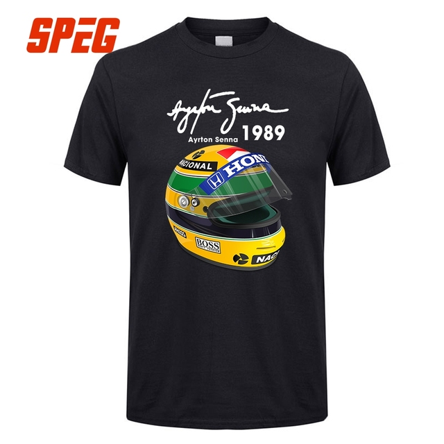 Ayrton Senna Helmet T Shirts 1 Race 1989 Men Cotton Short Sleeve ...