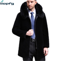 2018 NEW Winter Sheep Shears Men S Jacket Big Fox Fur Collar Leather And Cashmere Thickened