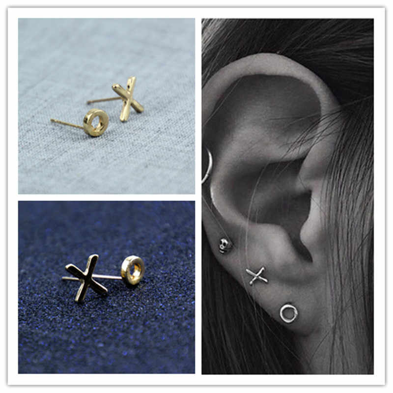 Fashion jewelry simple cute letter X stud for women men lovers' gift  e074
