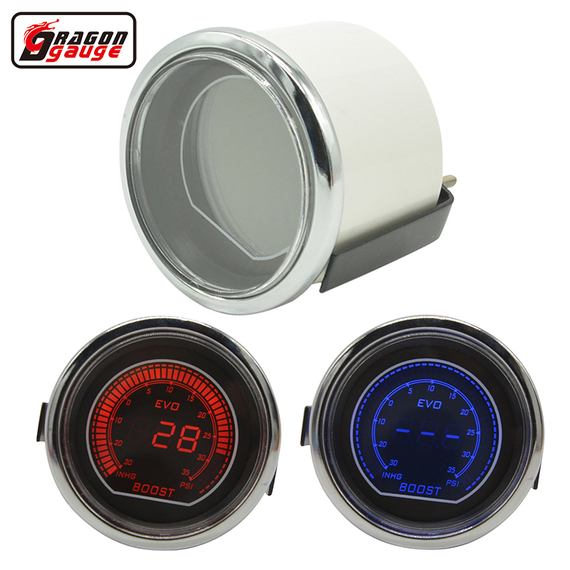 Medidor de dragão Branco Shell Smoke Lens 52mm Auto Car Oil Pressur Gauge turbine Digital Red / Blue LED Boost Gauge Meter