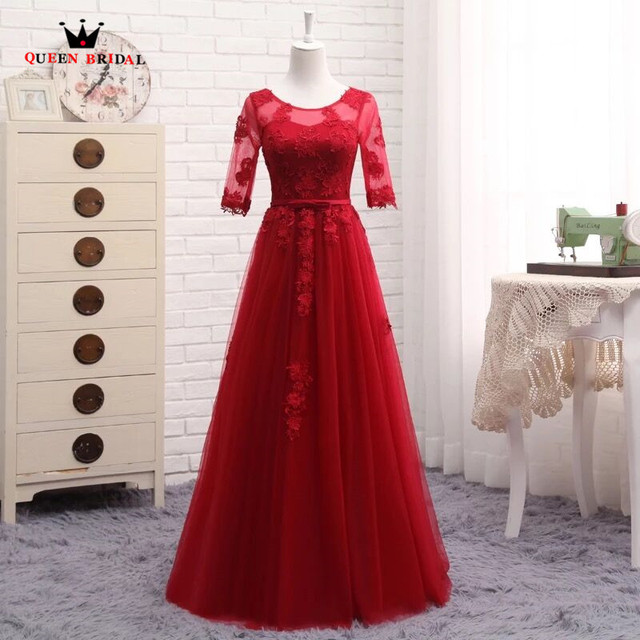 A-line Half Sleeve Lace Formal Evening Dresses Evening Gowns Prom Party Dress Robe De Soiree Wine Red Purple Pink Gray Blue DR02