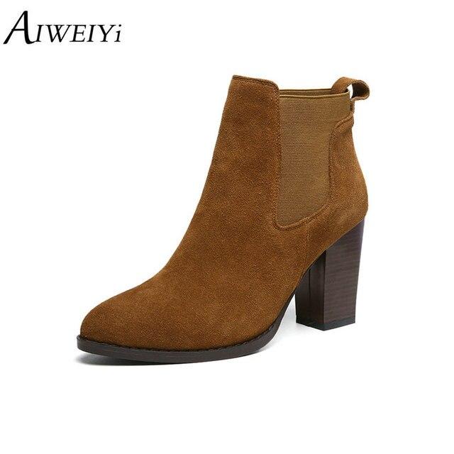 f7abffd0d AIWEIYi 2019 de cuero genuino botas de tobillo para las mujeres cuadrado  zapatos de tacón alto