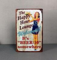 25x40 CM Happy Hour Salão Home Decor Tin Sinal Do Vintage para a Decoração Da Parede Sinal Do Metal Art Poster Retro placa \ Placa