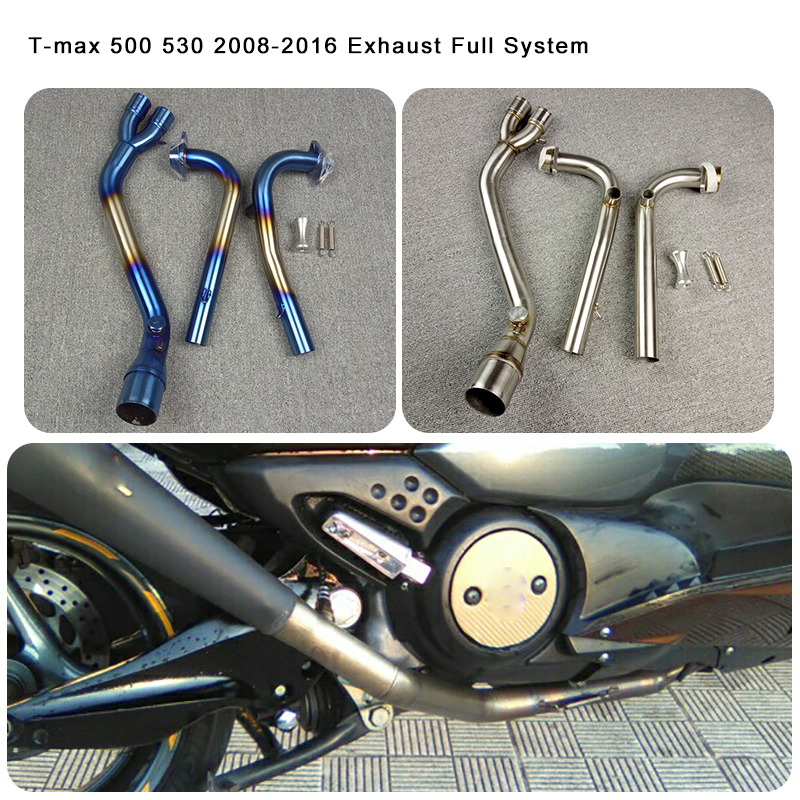Scooter Exhaust Full System For Yamaha <font><b>T</b></font>-<font><b>MAX</b></font> 500 <font><b>530</b></font> Tmax <font><b>T</b></font> <font><b>MAX</b></font> 500 <font><b>530</b></font> 2008 2009 2010 2012 2013 2014 <font><b>2015</b></font> 2016 image