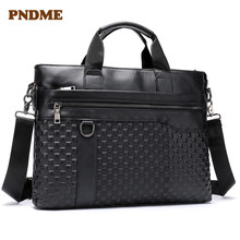 Briefcase business man's first layer cowhide handbag horizontal style leather hand bill of lading shoulder bag