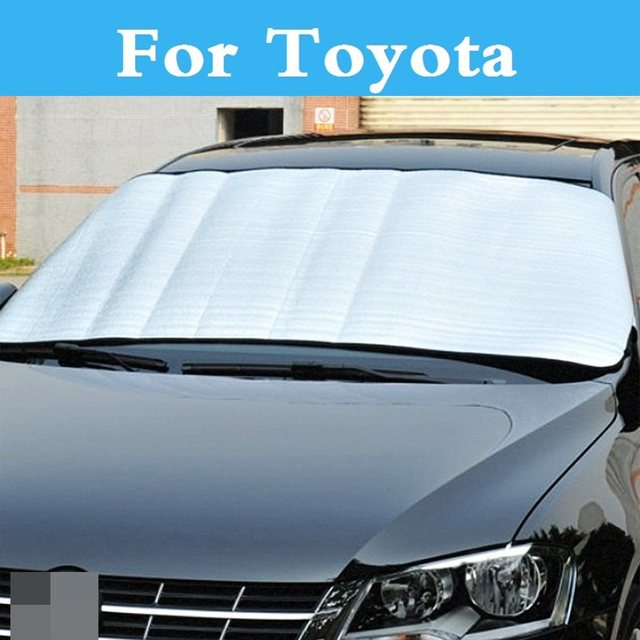 Car Front Windshield Sun Shade Visor Cover View UV Protect Film For Toyota  Hilux Surf iQ Ist Kluger Land Cruiser Prado e7bfe24f718