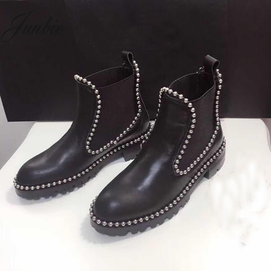 JUNBIE New Genuine Leather Slip On Women Ankle Boots Round Toe Metal Sequined Autumn Winter Boots Shoes Women riding winter boots feathers 2015 new fashion korean metal decoration genuine leather elevator pull on pure color round toe