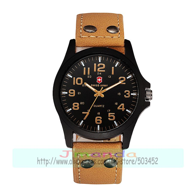 100pcs lot 1319 new arrival man sport leather watch big round dial S wiss Army racing