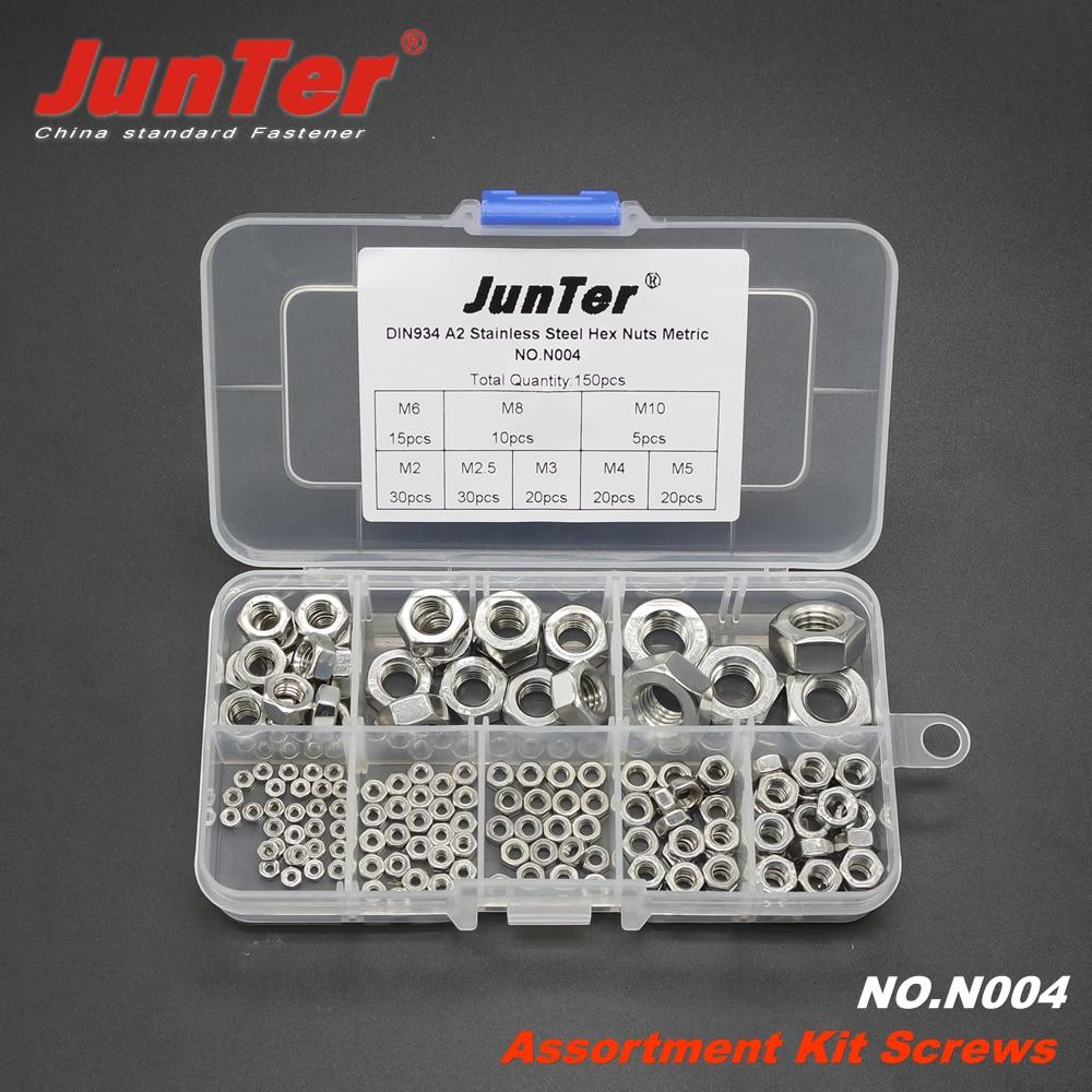150pcs DIN934 M2 M2.5 M3 M4 M5 M6 M8 M10 A2 Stainless Steel Hex Nuts Metric Assortment Kit NO.N004  гайки оцинкованные м22 din 934 6 шт