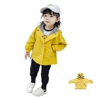 בגדים לילדים 2018 ילדים בנות תעלת אביב מעיל מעילים עם ברדס בני תינוק פעוט תינוק אופנה בגדי מעיל צהוב קוריאה