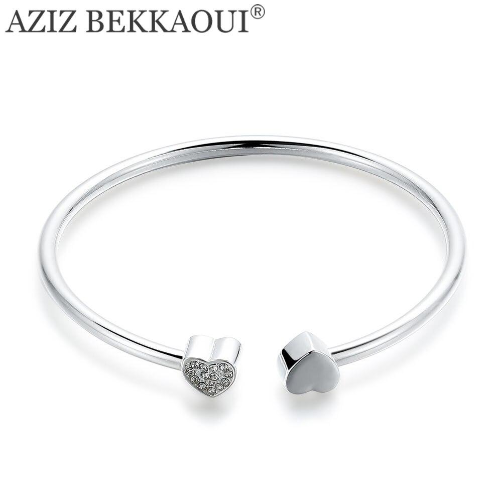 AZIZ BEKKAOUI Hot New Clear Crystal Heart Charm Bracelets for Women Thomas Style Cuff Bracelet & Bangle for Women Best Gift
