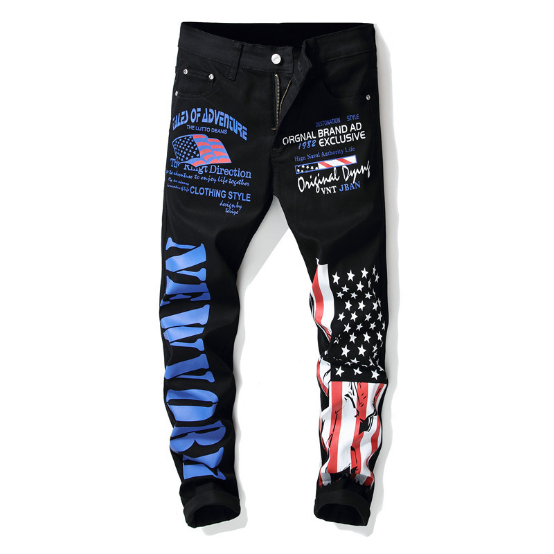 Newsosoo 2018 New Fashion Men\'s Flag Printed Jeans Hip Hop Men Pencil Pants Trousers For Streetwear Nightclub  (4)