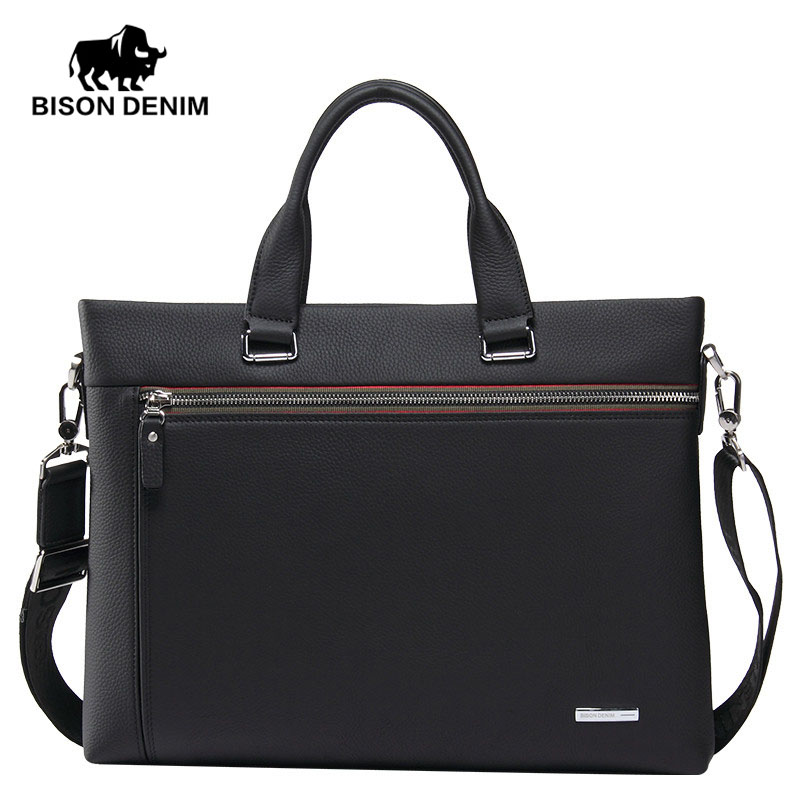 BISON DENIM Fashion men bag genuine leather handbag shoulder bags men briefcase business laptop bag