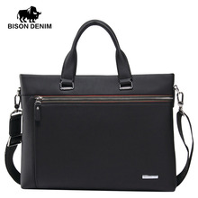 BISON DENIM Fashion men bag genuine leather handbag shoulder bags briefcase business laptop