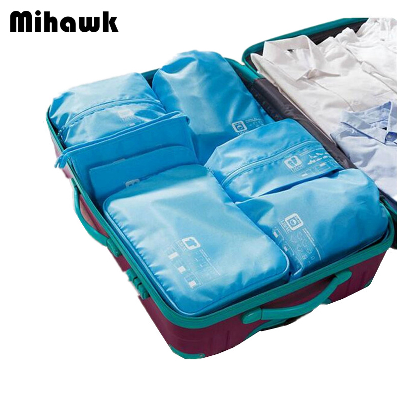 Mihawk 7pcs/set Practical Travel Bag Clothes Bra Underwear Shoes Cosmetic Packing Cube Storage Pouch Organizer luggage Accessory