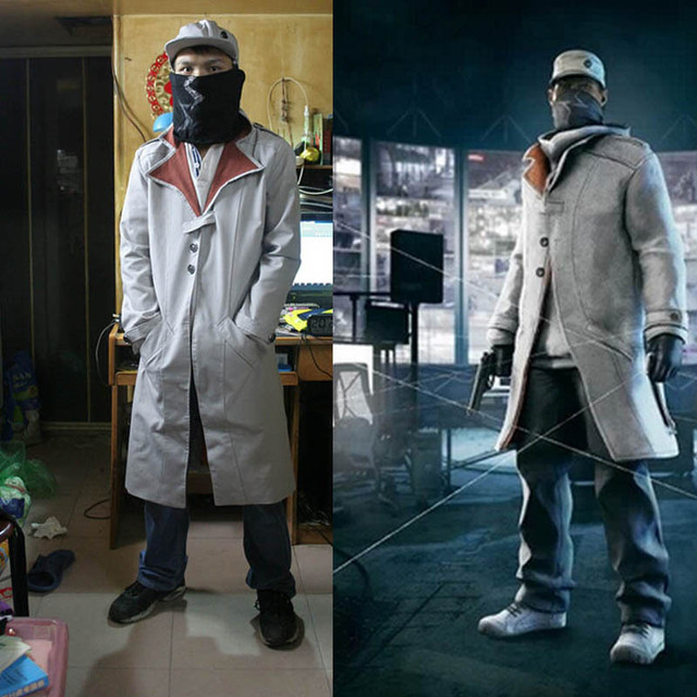 Movie Clothes New Watch Dogs Face Mask Cap Jacket Set Aiden Pearce