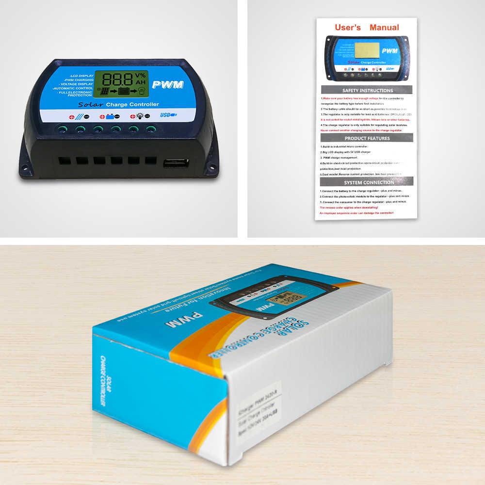 EASUN мощность Солнечный контроллер заряда 30A 20A 10A регулятор напряжения ШИМ Солнечный Контроллер заряда 12 в 24 в ЖК-дисплей USB 5 в солнечный регулятор