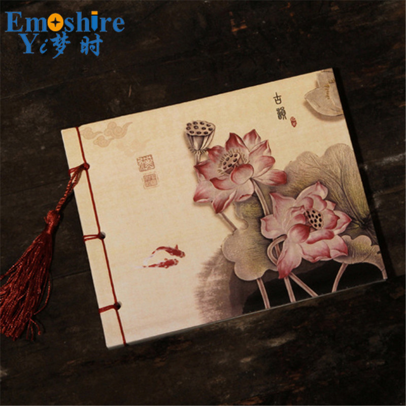 Lotus Flower Print Wholesale Stationery For Arts Students Painting Book Chic Journal Vintage Notebook Retro Chinese Notebok N323