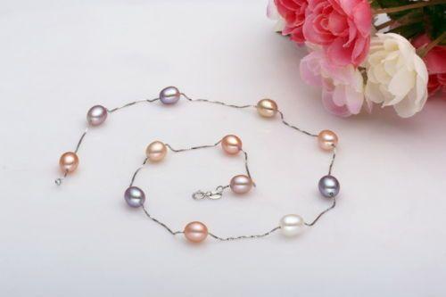 100% a Venda de Imagem completa Natural 8-9mm AAA + colar de pérolas cadeia 925 s (2 de comprimento pode escolher) jóias