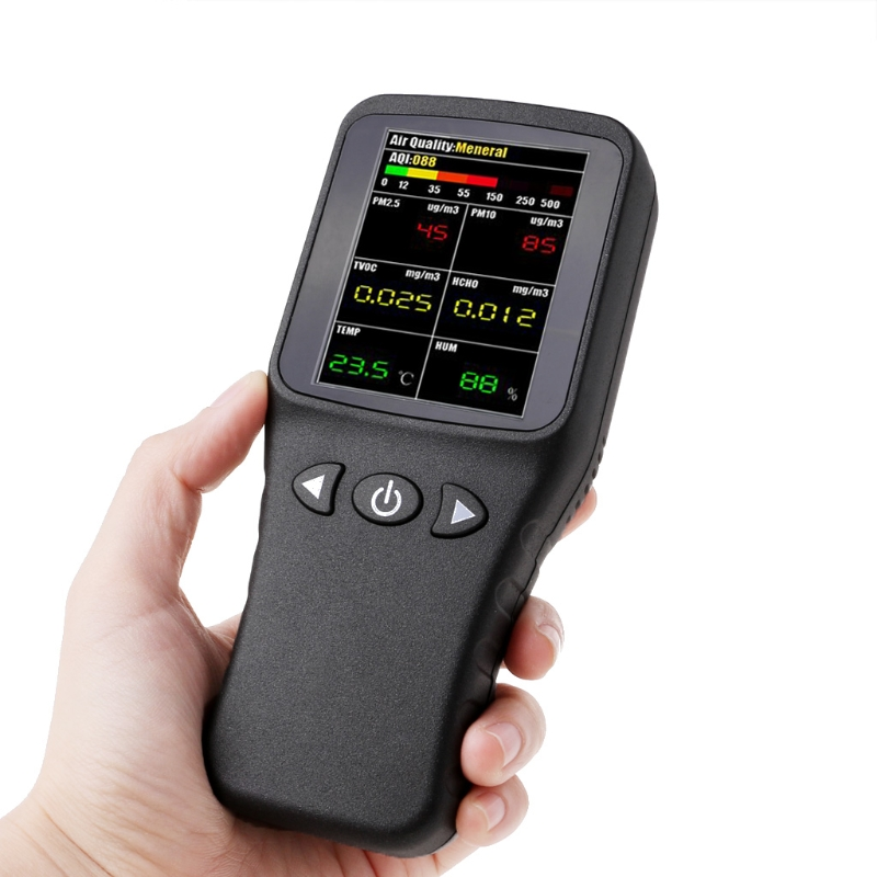 Free delivery Air Quality Detector 6in1 PM2.5 PM10 TVOC HCHO Formaldehyde Humidity Temperature free shipping portable formaldehyde indoor air pollutants tvoc detector from ohmeka