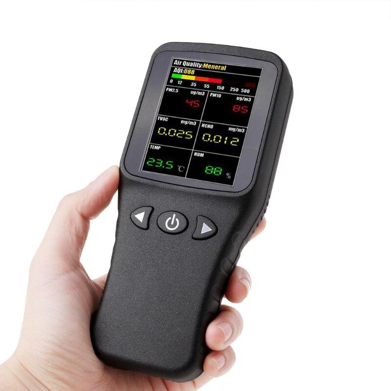 Livraison gratuite Air Qualité Détecteur 6in1 PM2.5 PM10 TCOV HCHO Formaldéhyde Humidité Température