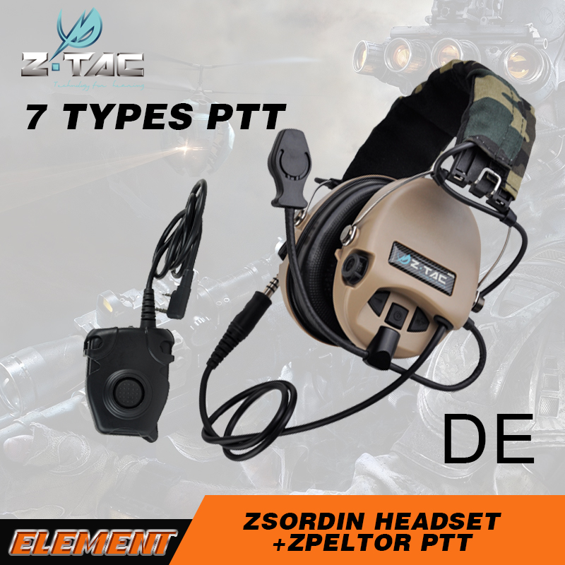 Z Tac Hunting Tactical Headphones Peltor PTT For Kenwood Anti noise Sordin Tactical Headset Shooting Headphone