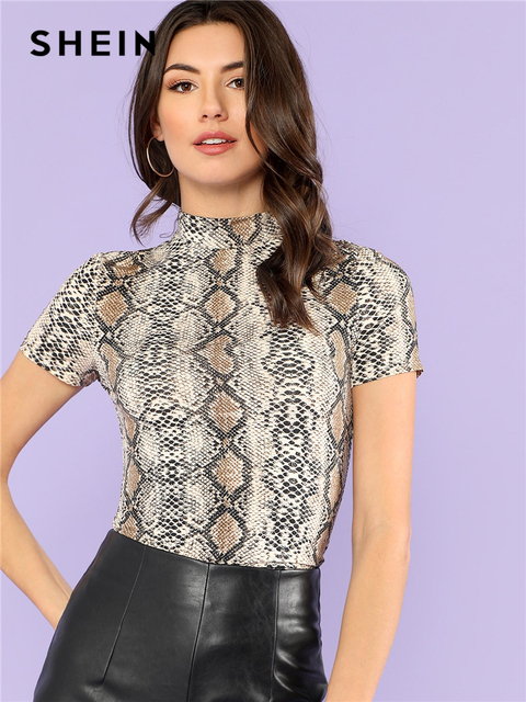 5b688d56730b SHEIN Mock Neck Snake Print Casual Tee Women Stand Collar Short Sleeve Slim  T-shirt 2018 Summer New Female Sexy Top Tee