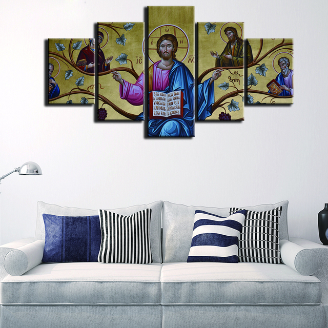 5 Panels Jesus Christian Canvas Painting Poster Prints Framed Wall ...