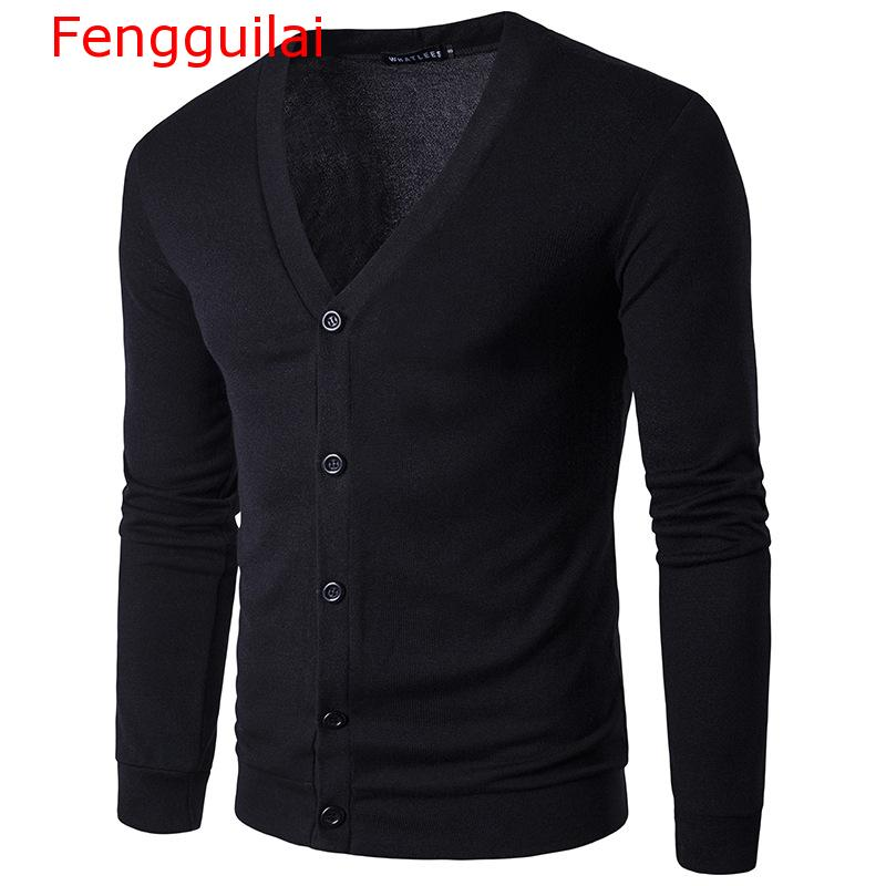 Fengguilai Men Turn Down Collar Button Up Cardigan Spring Casual Knitted Sweaters Solid Male Outwear Tops Sweatercoat